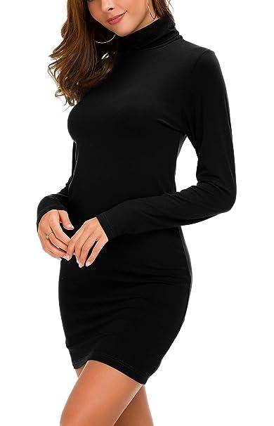 bad9d57750d Urban CoCo Women's Long Sleeve Turtleneck Bodycon T-Shirt Dress (S, Black)