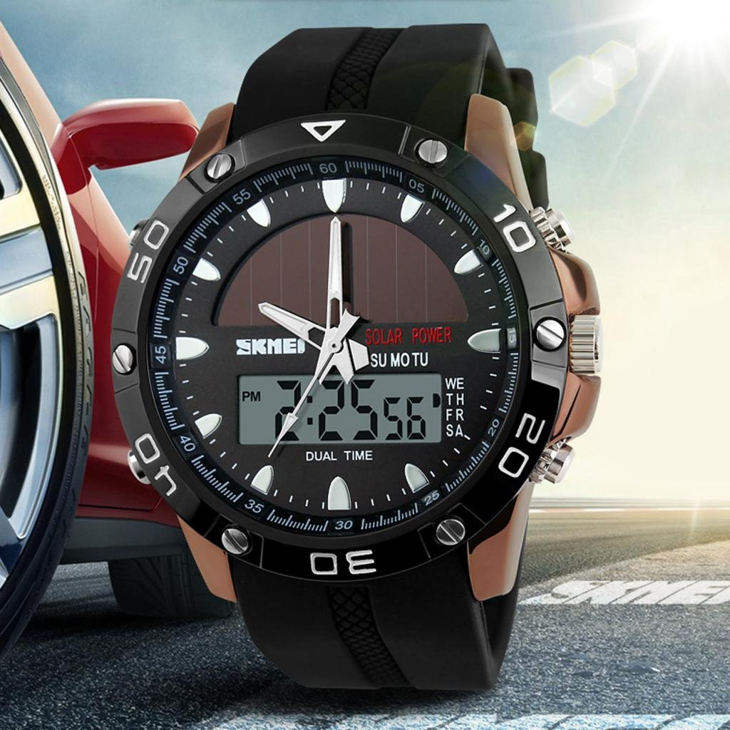 Amazon.com: SKMEI Mens Solar Power Military Dual Time Zones Slide Rule Silicone Band Sports Wrist Watch: Watches