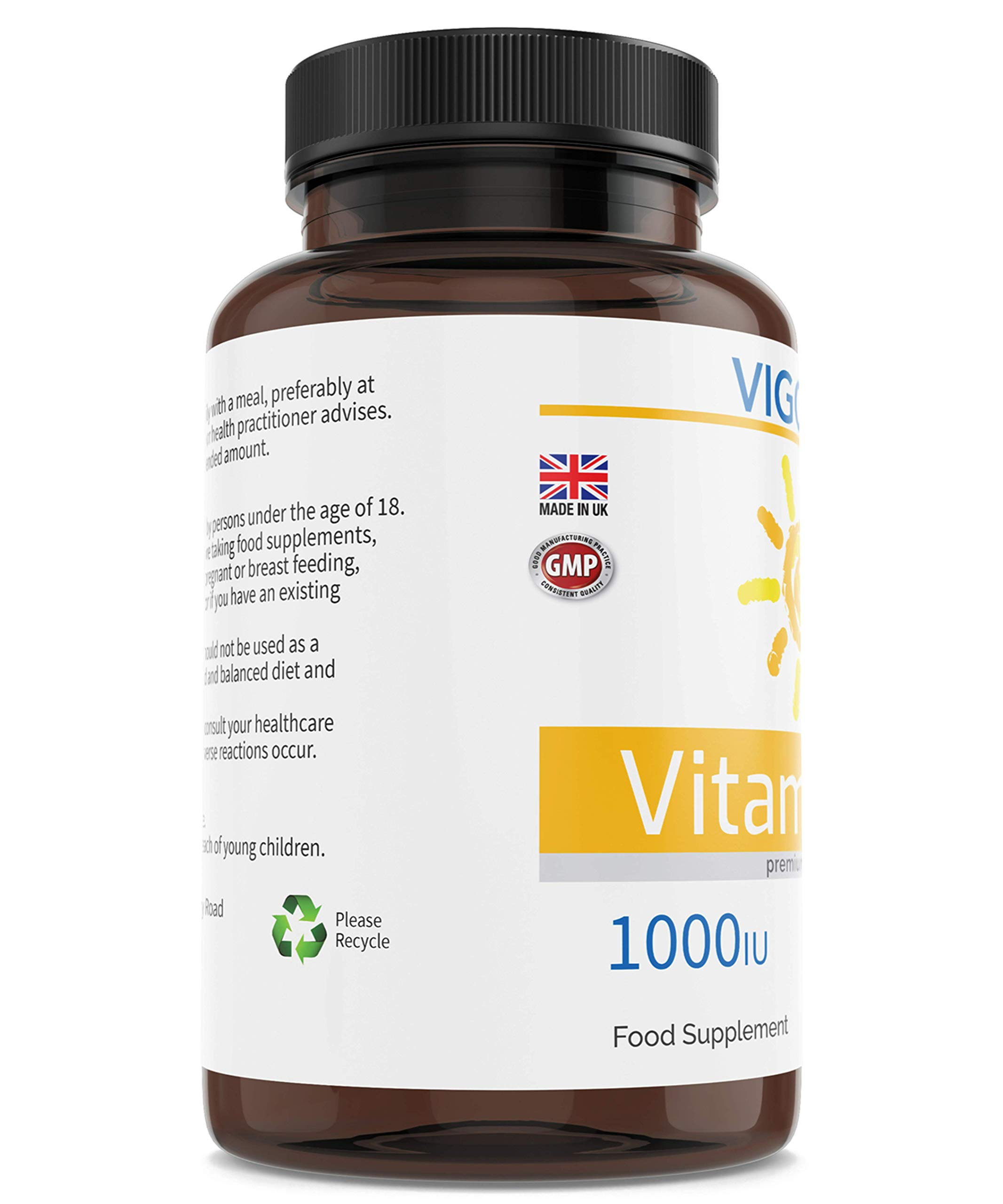 Vitamin D3 Food Supplement for Immune Support, Healthy Joints, Muscles, and Strong Bones and Teeth - 1000 IU Optimal Strength 180 Softgels - 6 Month Supply - Non-GMO - Allergen-Free - Made in The UK