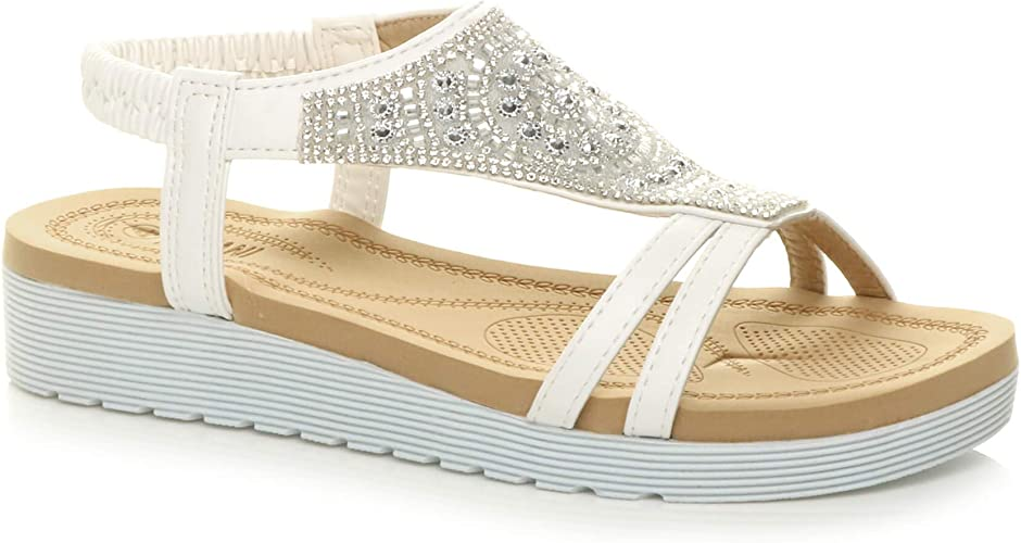 Womens Ladies Low Wedge T-Bar Strappy Diamante Pearl Flower Comfy Sandals Size