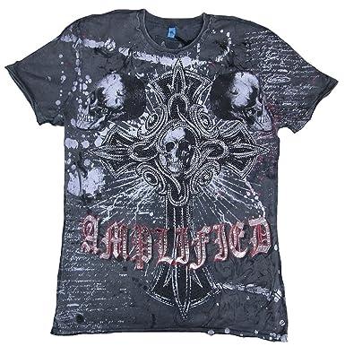 Amplified Herren T-Shirt Grau Anthrazit Saint Sinner GOTHIC CROSS SKULL  Strass TOTENKOPF Black Geist