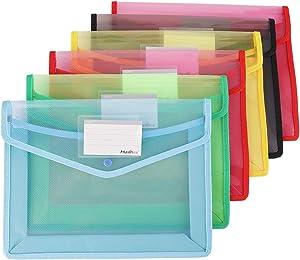 Plastic File Wallet, Fashionclubs 6pcs A4 File Wallet Document Folder Pockets Premium Poly Envelops with Card Slot, Water-Proof Envelope Folder File Expanding Organizer Bags, Snap Closure