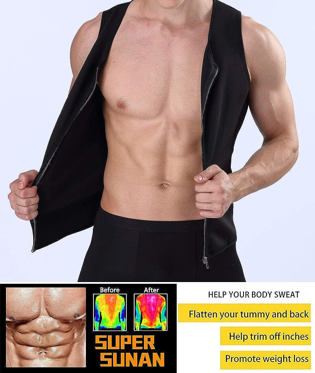 8686a43a22 Amazon.com  Men Waist Trainer Vest for Weightloss Hot Neoprene Corset Body  Shaper Zipper Sauna Tank Top Workout Shirt Fitness Sweat Suit  Clothing