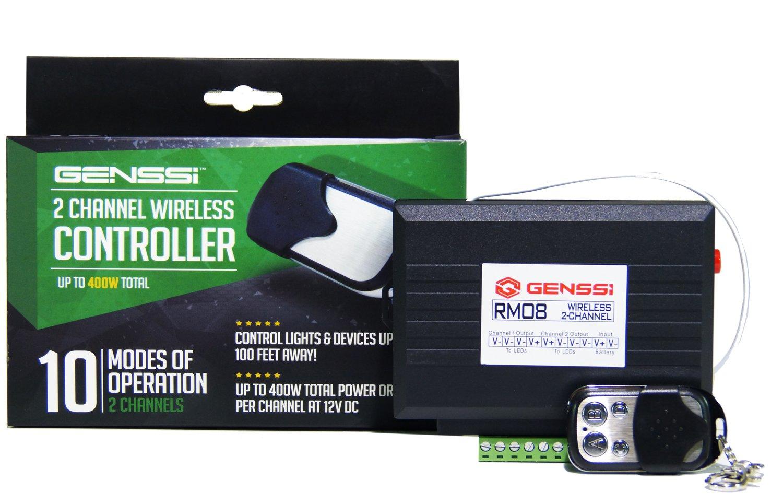 Genssi Wireless 12v 2 Channel High Power Transmitter Light Bar Wiring Diagram Receiver On Off Strobe Flash Pulse Led Bars Automotive