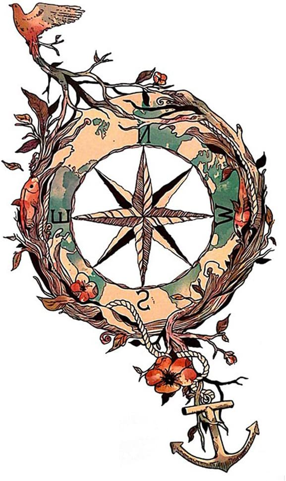 wyuen 5 hojas impermeable tatuajes temporales adhesivo de timón ...