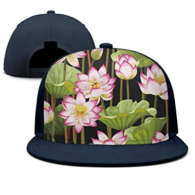 4948d4401c1 Keppel Teerd Unisex pood Sacred Lotus Flower Plants Adjustable Baseball Hats  Rock Hip Hop Flat Cap