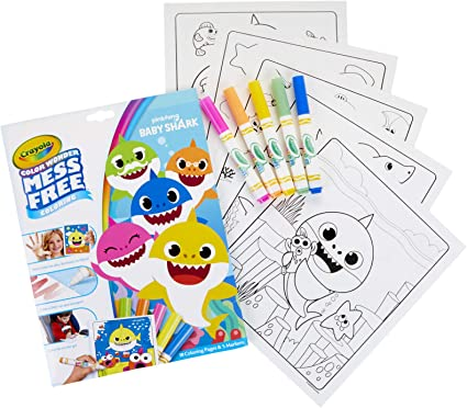 Amazon.com: Crayola Baby Shark Color Wonder Coloring Pages, Mess ...