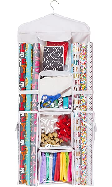 double sided hanging gift wrap bag organizer storage