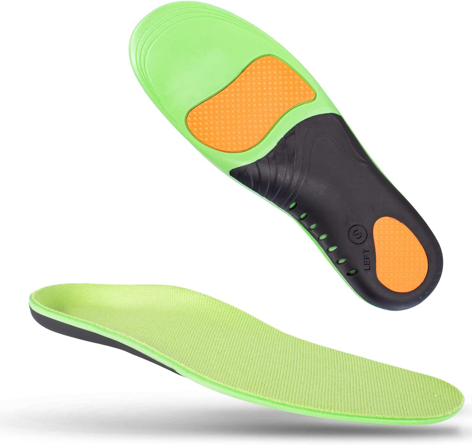 """Shoe Insoles for Men Arch Supports Orthotics (2pair) Arch Pain Plantar Fasciitis Feet Insoles Inserts Relieve Flat Feet High Arch Foot Pain for Men Women (Green, (2pair) L: M10-12 / W 11-13 (11.81"""")): Health & Personal Care"""