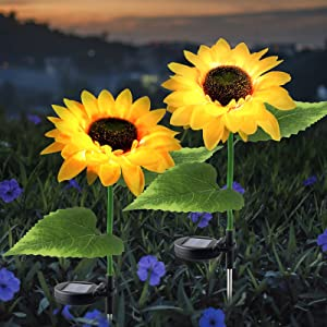 Forlivese Solar Powered Sunflower Lights, Outdoor Decorative Garden Stakes, Solar LED Pathway Decor Lights, Solar Flowers, for Garden Patio Lawn Yard Porch Walkway(2 Pack)…