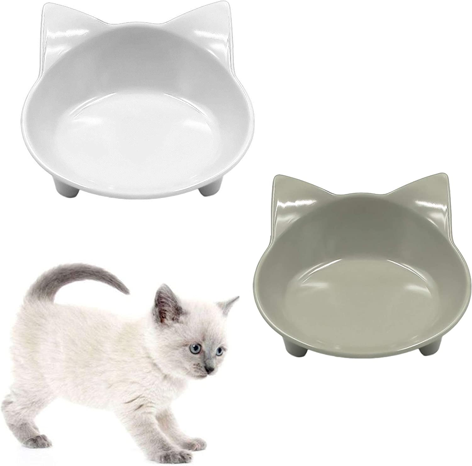 THAIN Cat Bowl Food and Water Bowls Set, Shallow and Wide Cat Dishes for Whisker Fatigue Stress Relief, Cute Design Non Slip Pet Food Water Bowls for Cats Small Dogs 2 Pack