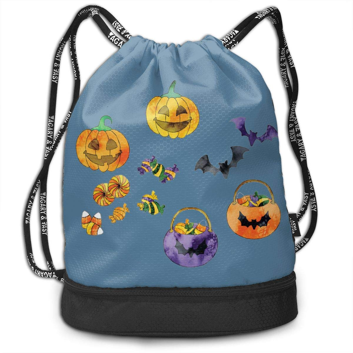 HUOPR5Q Halloween Pumpkin Bat Drawstring Backpack Sport Gym Sack Shoulder Bulk Bag Dance Bag for School Travel