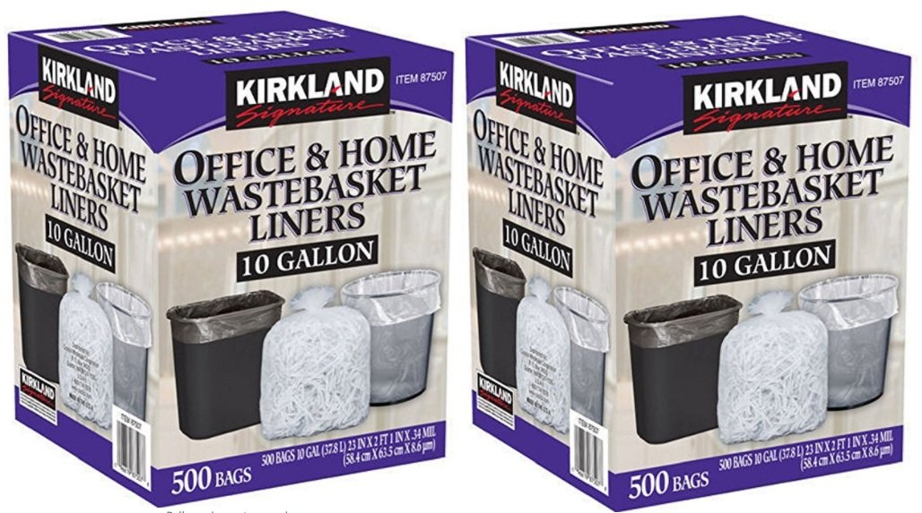 Kirkland Signature Made in USA 10 Gallon Clear Wastebasket Liner Bags for Trash Can 500 Count (2 Pack) by Kirkland Signature