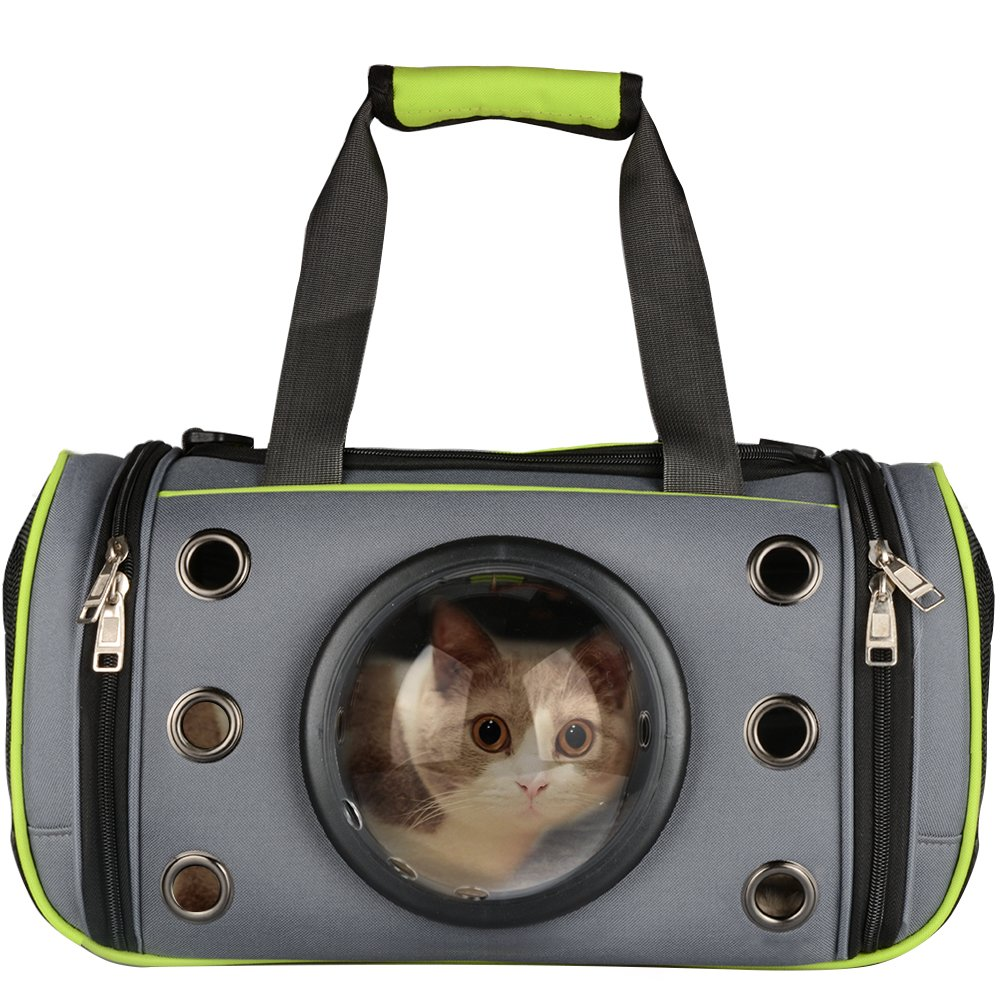 PetLoft Innovative Pet Carrier, Deluxe Soft Sided Top & Side Loading Foldable Pet Travel Carrier for Cats and Small Dogs (Medium, Green)