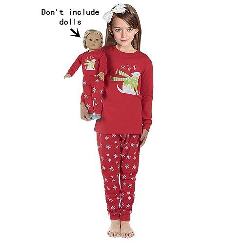 babyroom girls matching dolltoddler giraffe 4 piece cotton pajamas kids clothes sleepwear - Christmas Clothes For Kids