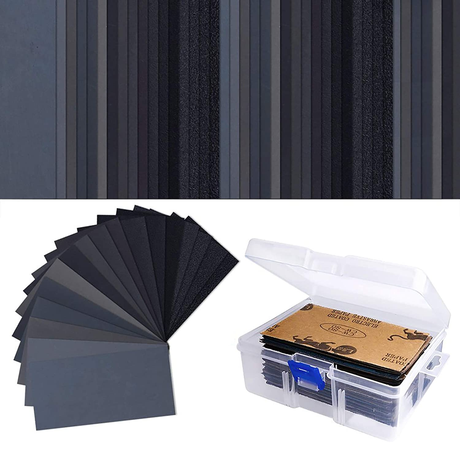 AUSTOR 102 Pcs Wet Dry Sandpaper 60 to 3000 Grit Assortment 3 x 5.5 Inch Abrasive Paper with Free Box for Automotive Sanding, Wood Furniture Finishing
