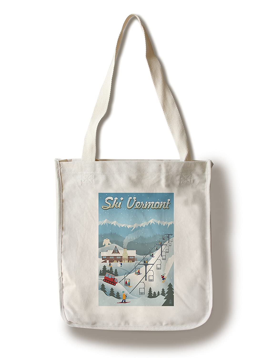 Vermont – レトロSki Resort Canvas Tote Bag LANT-47352-TT B01841PJHK Canvas Tote Bag