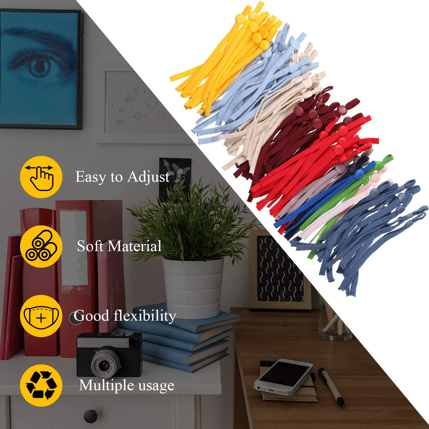 12 Colors 120 Pieces Elastic String Bands with Adjustable Buckle Stretchy Ear Band Strap Elastic Cord Bands Earloop Anti-Slip Strap for DIY Sewing Making Supplies