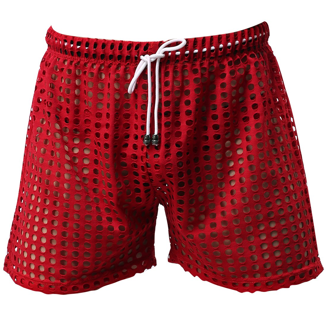 FEESHOW Men's See-Through Mesh Loose Shorts Lounge Underwear Cover up Boxer Trunks