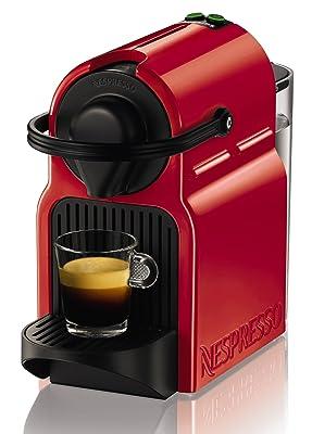 Nespresso Krups Inissia XN1005, Cafetera de Cápsulas, 19 bares, Compacta, Apagado Automático, Rojo
