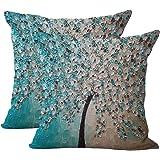 JOTOM - Funda de cojín de lino y algodón suave, 2 unidades, diseño de árbol, 45 x 45 cm