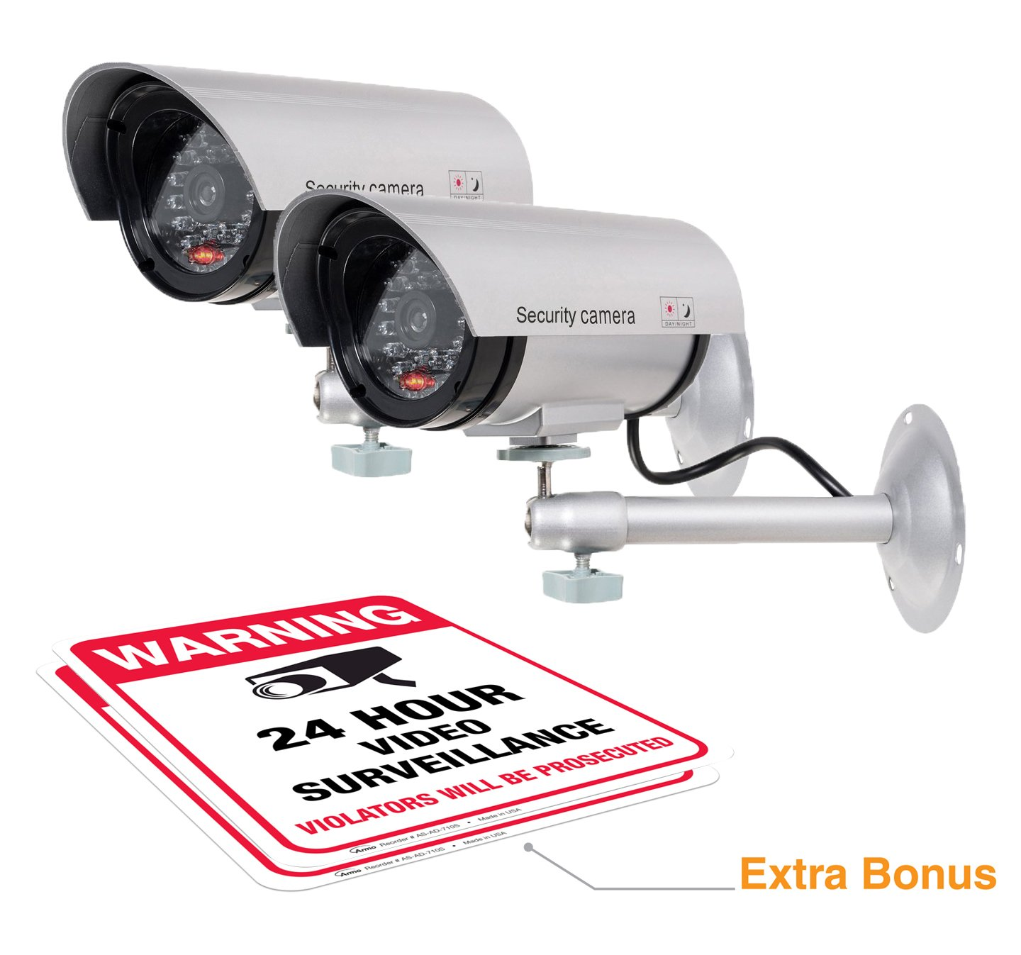 (2 Pack) Dummy Security Camera, Fake Bullet CCTV Surveillance System with Realistic Look Recording LEDs + Bonus Warning Sticker - Indoor/Outdoor Use, for Homes & Business- by Armo FBA_FC-300