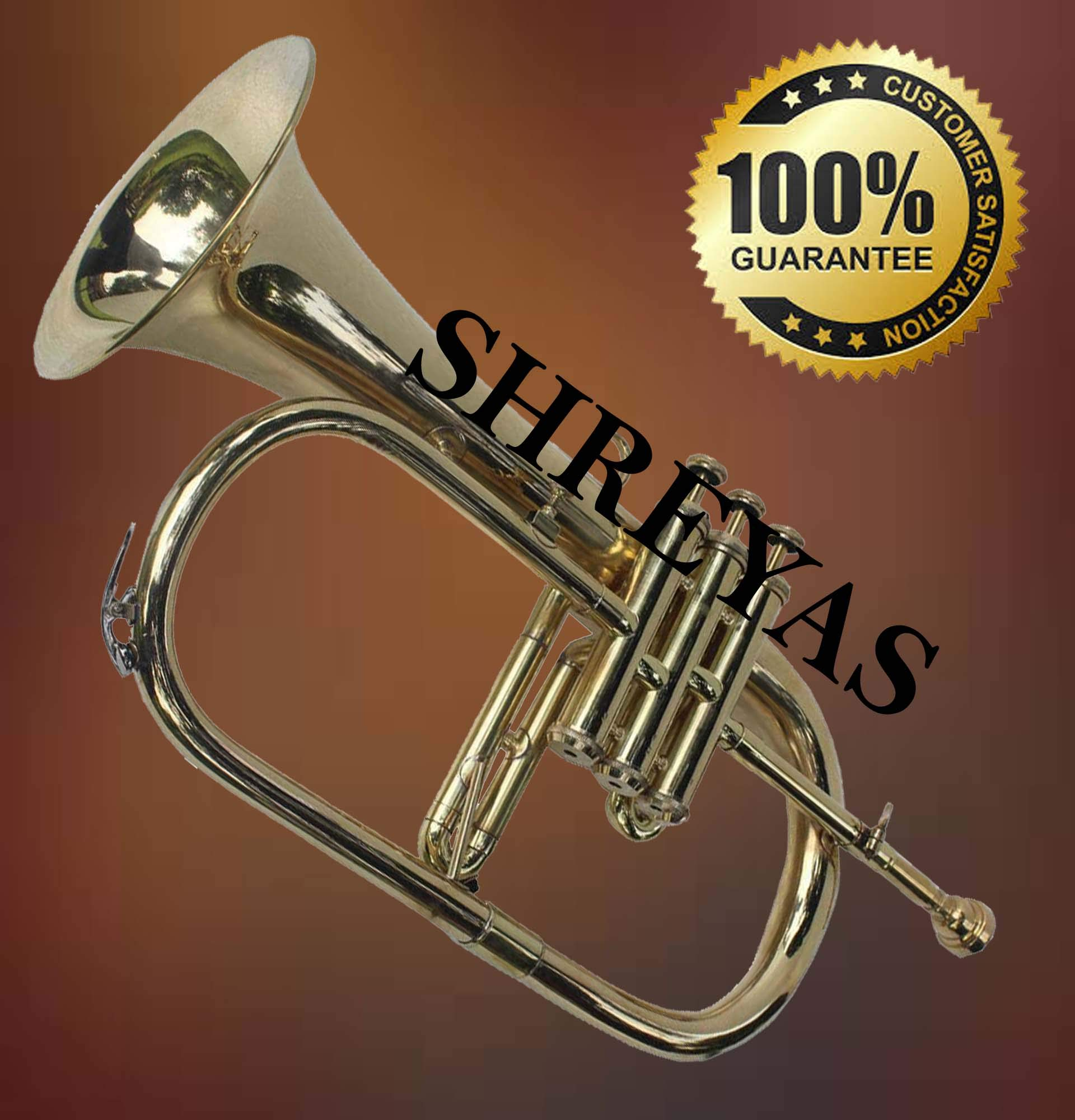 Shreyas Great Value 3-Valve Bb Natural Brass Flugel Horn Flugelhorn with Designer Hardcase VTR156 by SHREYAS (Image #4)