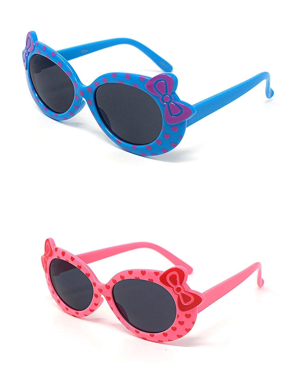 1 x rosa 1 x niños de color azul niñas niños de estilo lindo diseñador gafas de sol de alta calidad con un arco y el corazón estilo UV400 gafas de sol gafas de protección UVA UVB