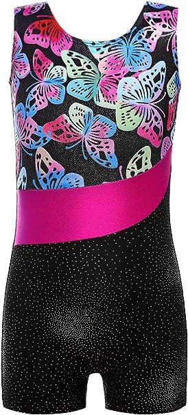 DAXIANG Fille Gymnastique Justaucorps sans Manches Danse Justaucorps pour Pratique Costume pour Filles 100cm-170cm