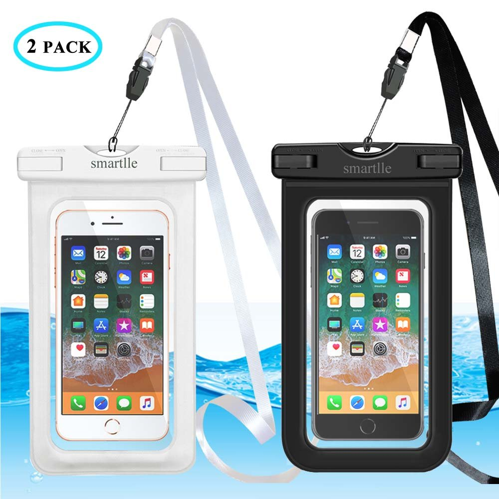 official photos 8d244 fbf0d smartlle Universal Waterproof Phone Case, Large Waterproof Phone Pouch Dry  Bag for Apple iPhone X, 8, 7, 6 Plus, SE, Samsung S9+ S8 S8+, 6.5