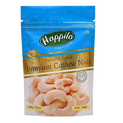 Happilo Premium Toasted and Salted Cashews, 200g (Pack of 5)