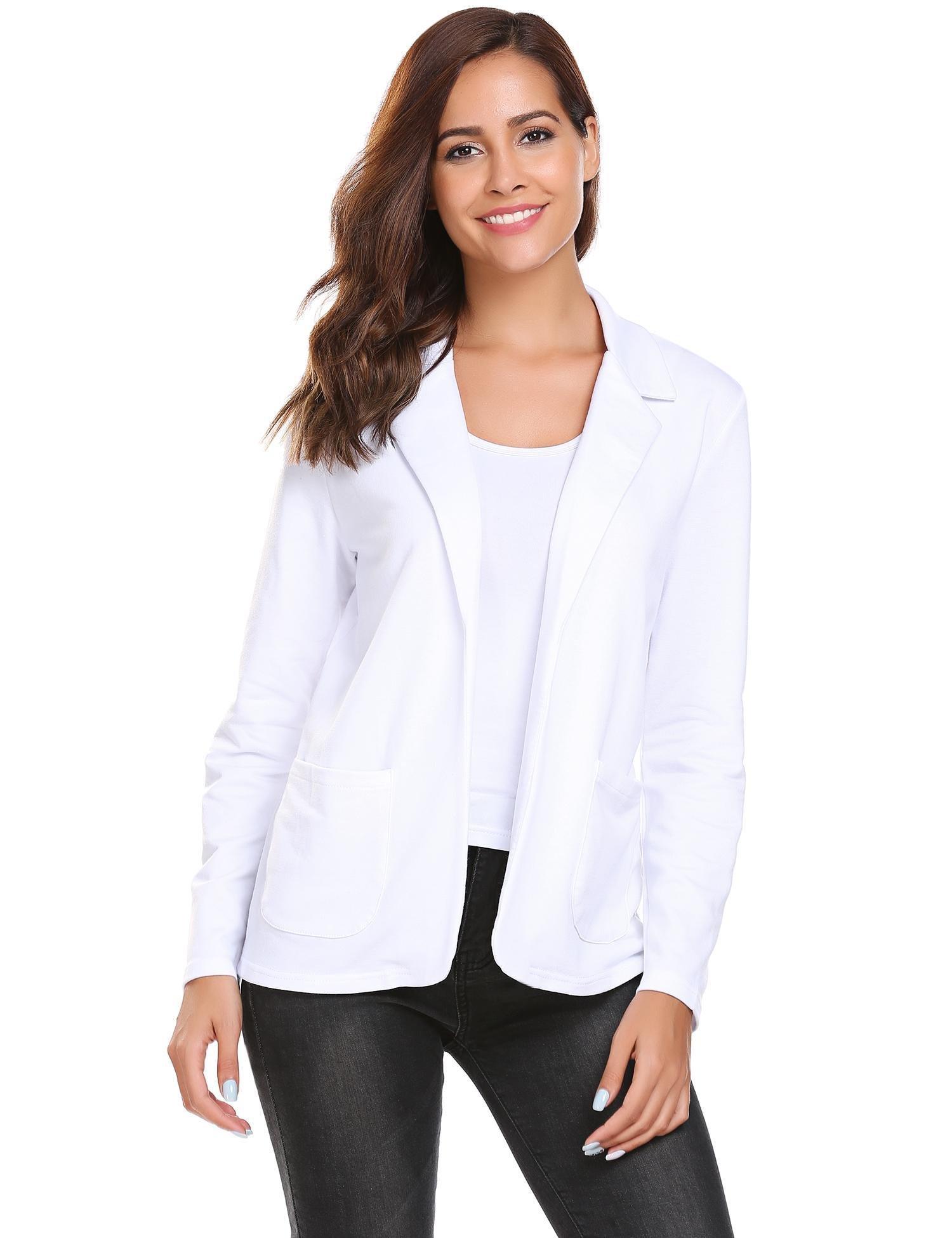 Zeagoo Women Office Blazer Casual Open Front Long Sleeve Jacket Coat Pure White XXXL