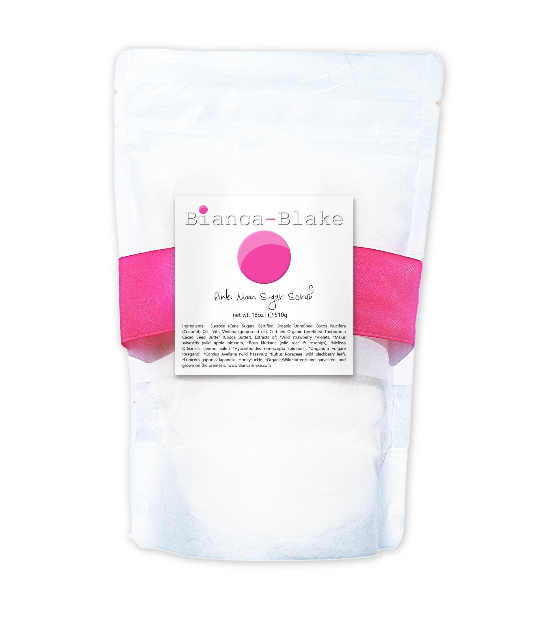 Pink Moon Botanical Sugar Scrub anti-aging, skin softening by Bianca-Blake