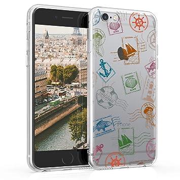 kwmobile Funda para Apple iPhone 6 / 6S - Carcasa de TPU para móvil y diseño de Sellos Marinos en Verde/Azul/Transparente