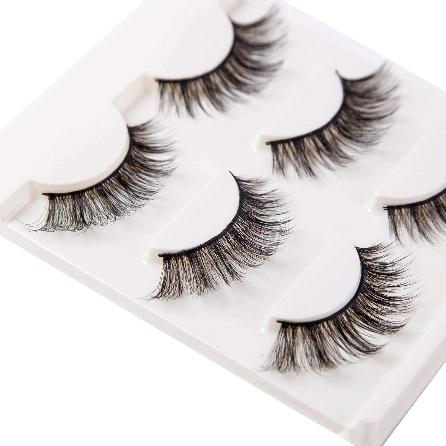 be16dffcc71 Amazon.com : 3D False Eyelashes Extensions 3 Pairs Long Lashes Strip with  Volume for Women's Make Up Handmade Soft Fake Eyelash : Beauty