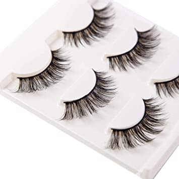 7945ba42e8f 3D False Eyelashes Extensions 3 Pairs Long Lashes Strip with Volume for  Women's Make Up Handmade