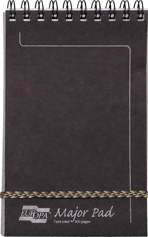 Un Bloc Major Pad /à spirale Europa 300 pages 20,2x12,7 cm 90g lign/ées Couverture Bleue Clairefontaine 4615Z