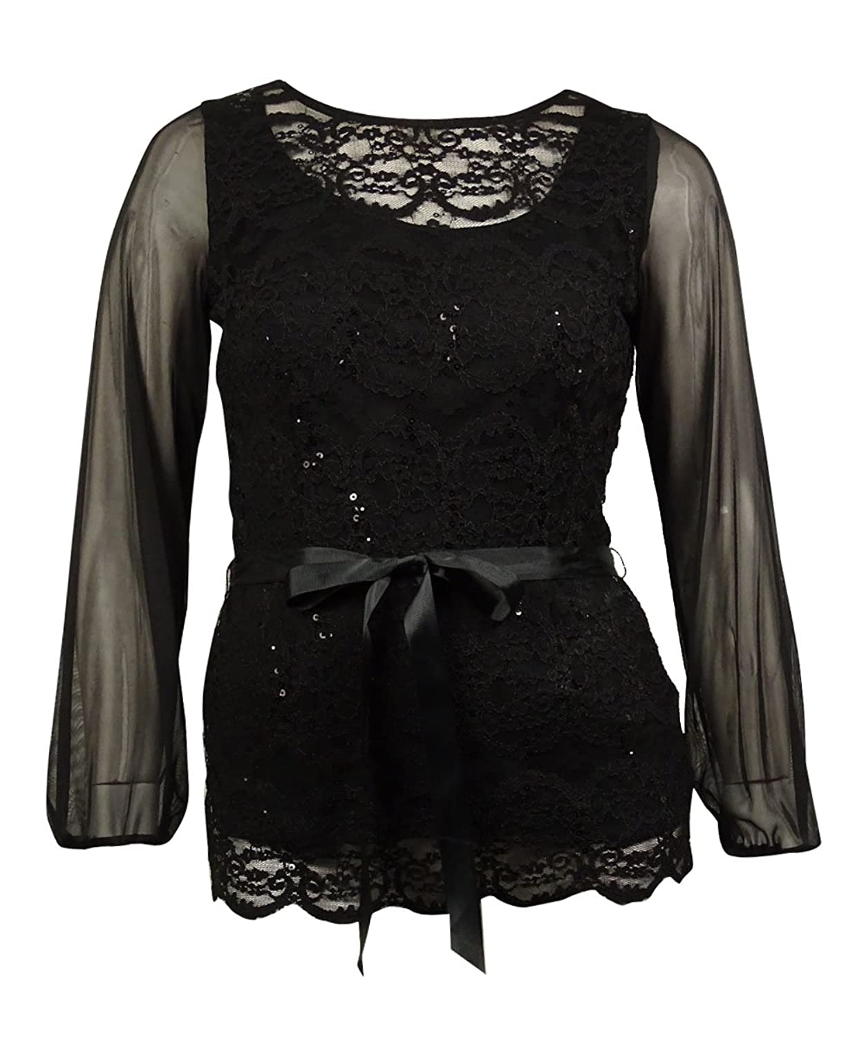 Onyx Nite Women's Large Lace Sequin Scalloped Sheer Blouse