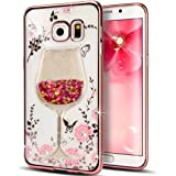 Samsung Galaxy C9 Pro Case, QKKE [Wine Glass Quicksand] Butterfly Floral Flower Diamonds Shiny Frame Plating Bumper Soft TPU Case for Samsung Galaxy C9 Pro (Wine Glass/Rose Pink)