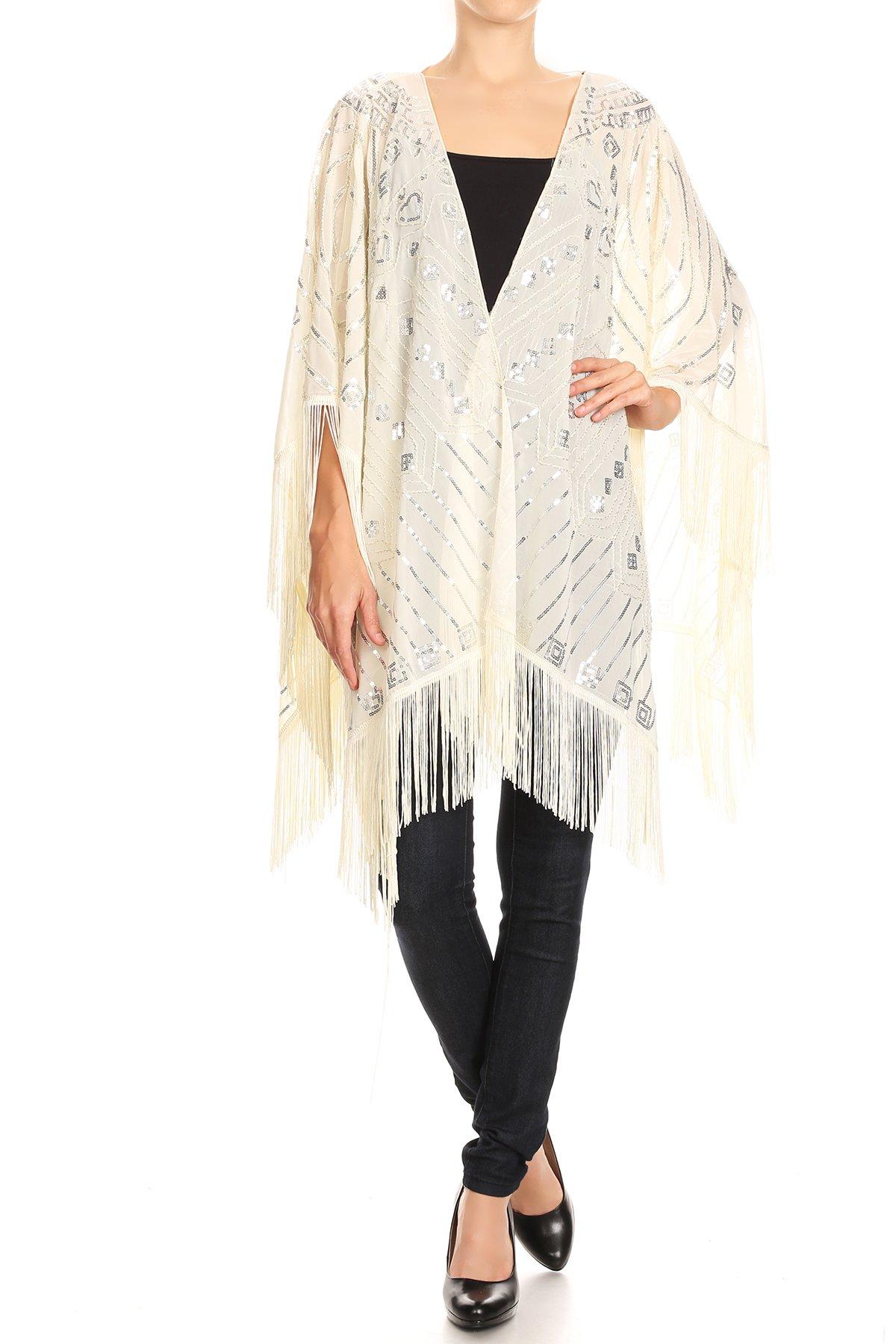 Anna-Kaci Womens Oversized Hand Beaded and Sequin Evening Shawl Wrap with Fringe, White, Onesize