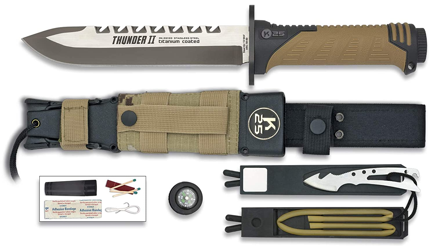 Amazon.com: K25 Knife Model THUNDER II SAND 32133: Sports ...