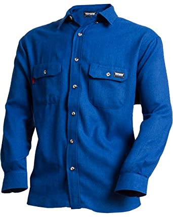 c3740d375855 TECGEN Men s Blue Fr Deluxe Long Sleeve Shirt Royal Blue X-Large at Amazon  Men s Clothing store  Work Utility Shirts