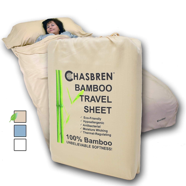 Chasbren トラベルシーツ 100%竹製 旅行寝具 ホテルや旅行に ソフトで快適 ゆったり 軽量 スリープシーツ サック バッグ ライナー 枕ポケット ファスナー キャリーバッグ  タン B07H8Q674T