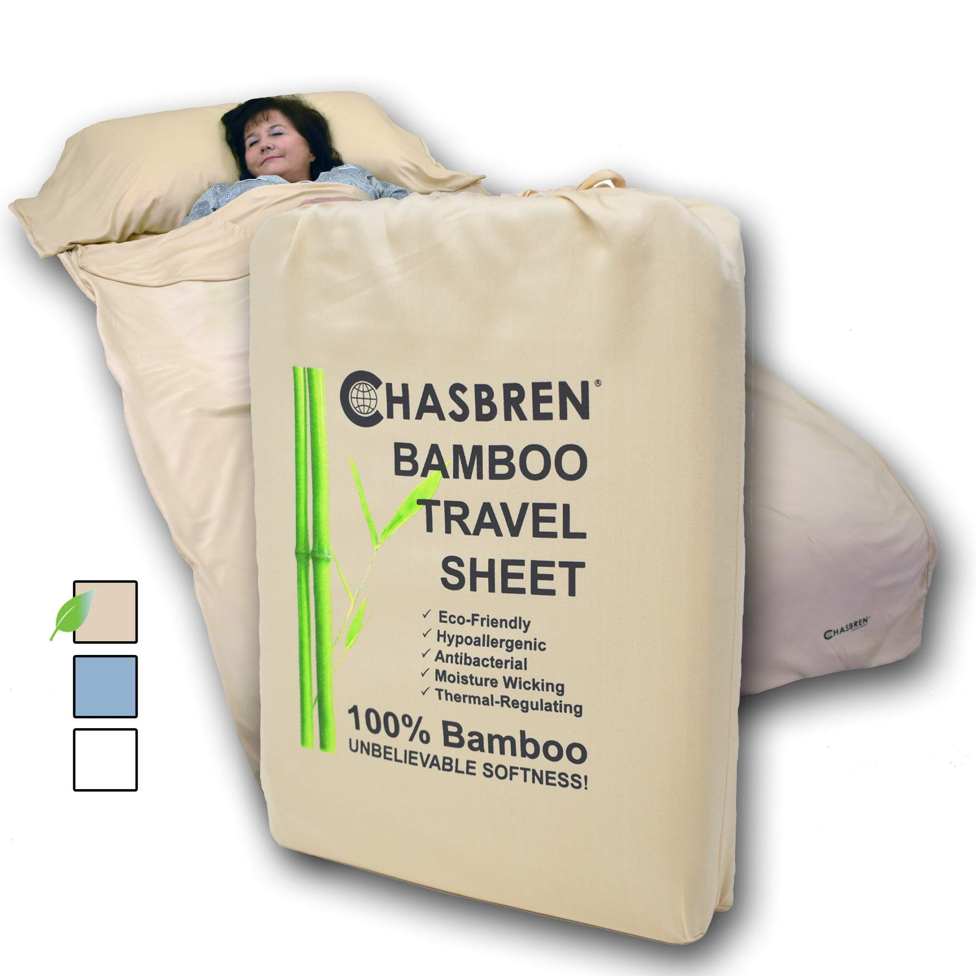 Chasbren Travel Sheet - 100% Bamboo Travel Bedding for Hotel Stays and Other Travels - Soft Comfortable Roomy Lightweight Sleep Sheet, Sack, Bag, Liner - Pillow Pocket, Zippers, Carry Bag (Tan) by Chasbren