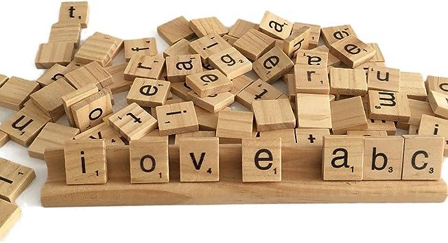 Haude 100 de Madera Alfabeto Azulejos Scrabble Letras Negras Y Números para Artesanías de Madera: Amazon.es: Juguetes y juegos