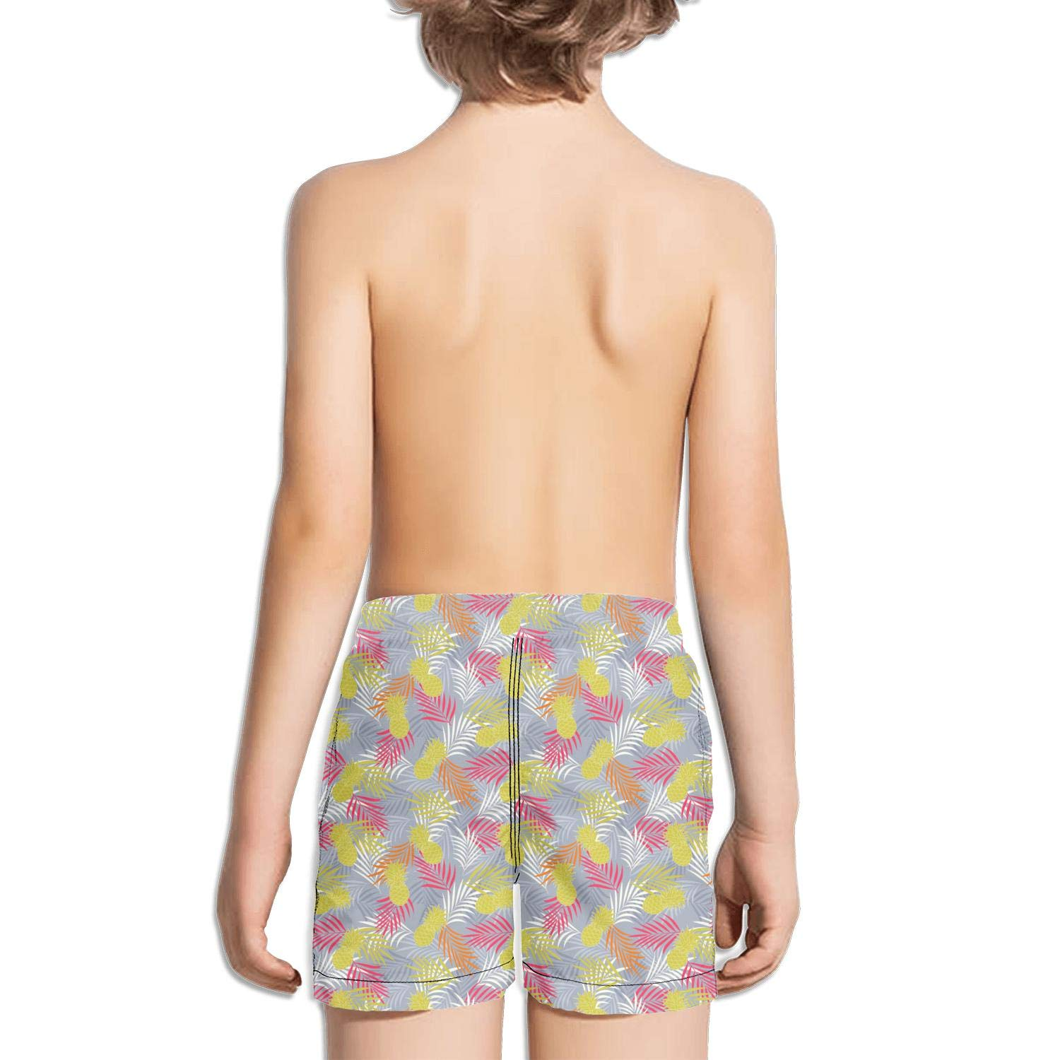 DSDRFE2DEW Swimming Trunks Summer Pattern with Color Pineapple Party Printed Shorts for boyswith Drawstring