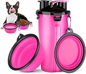 Vikano Dog Water Bottle Dog Bowls for Traveling, Pet Food Container 2-in-1 with Collapsible Dog Bowls, Outdoor Dog Water Bowls for Walking Hiking Travelling