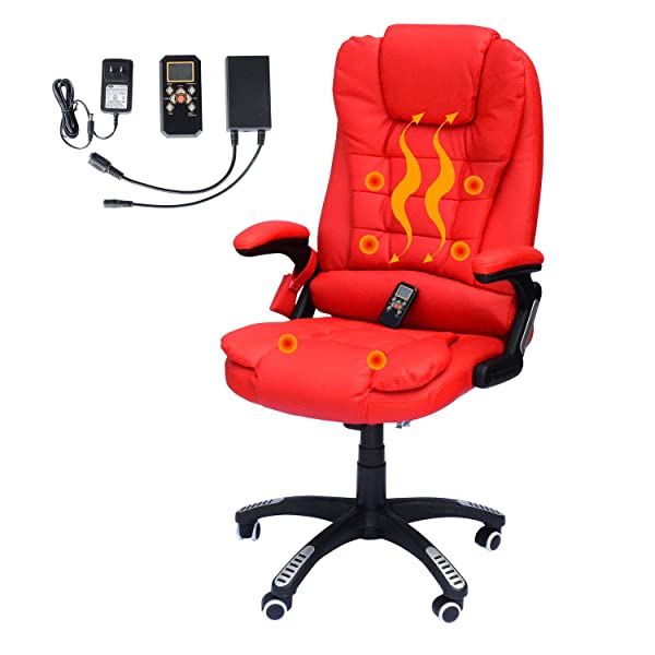 HOMCOM High Back Faux Leather Adjustable Heated Executive Massage Offcie Chair - Bright Red