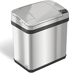 iTouchless 2.5 Gallon Bathroom Touchless Trash Can with Odor Filter and Fragrance Stainless Steel, Automatic Sensor Lid, Home or Office, 9.5 L, 2.5-Gallon,