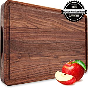Large Walnut Wood Cutting Board 18x12x1.2 Reversible with Handles and Juice Groove Thick Butcher Block Chopping Carving Cheese Charcuterie Serving Edge Grain by AtoHom